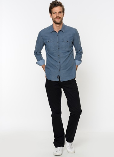 Çift Cepli Gömlek-Mavi